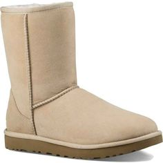 UGG Women's Classic Short II Sand Boots ($160) ❤ liked on Polyvore featuring shoes, boots, ankle booties, ankle boots, tan, leather boots, low heel ankle boots, short ankle boots, tan booties and leather bootie
