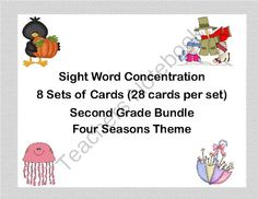 Bundle of Second Grade Sight Word Printable Concentration Games- Four Seasons from Mrs. Mc's Shop on TeachersNotebook.com -  - This bundle offers a fun way for your second grade students to practice their sight words through the school year. This collection of games can be used as part of a center, in small groups for practice, or by one student.   There are eight sets of cards u