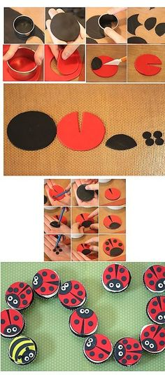 Cute: How to make ladybug cupcake toppers.