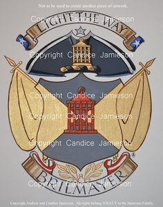 Private Patron Armorial hand drawn and painted by American Heraldic Painter and Professional Fine Artist Candice Jamieson in her trademark, 'American Style'. Designed by British Artist and Designer Andrew Stewart Jamieson.  Please Note:  This image is not to be used to create another piece of artwork.(heraldic art, heraldic artist, heraldry, Candice Jamieson, coats of arms, American heraldry, The Jamieson Family)