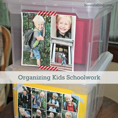 5 different key methods and 15 fantastic ideas for organizing and storing children's school work and artwork.