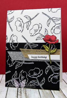 Nicole Wilson Independent Stampin' Up!® Demonstrator Just Add Ink 350 Birthday Blooms and Teeny Tiny Sentiments on black and white with a pop of Real Red and Old Olive - www.facebook.com/NicoleWilsonStamp #stampinup #birthday #flower #JAI350