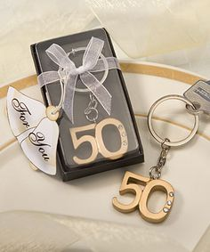 Gold 50th Anniversary Key Ring Favors for wedding anniversary or 50th birthday from HotRef.com #50thgold #wedding #anniversary