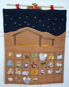 Machine Embroidery Designs at Embroidery Library! Christmas Makes, Felt Christmas, Christmas Ornaments, Christmas Fabric, Nativity Advent Calendar, Advent Calenders, Learn Embroidery, Machine Embroidery Patterns, Felt Ornaments