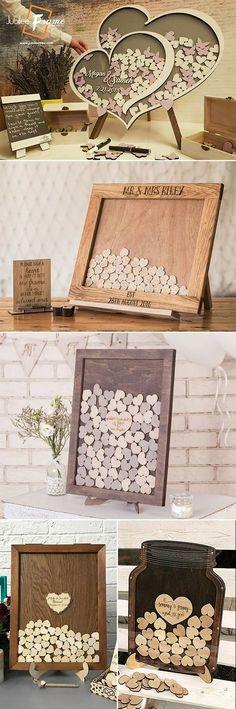 2 alternative wedding ideas dorp box hearts Mason Jar country wedding ideas wood #rusticwedding #weddingideas #guestbook