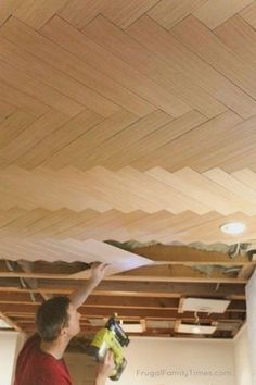How to DIY: Wood Herringbone Ceiling (Another Great Basement Ceiling Idea!), Diy And Crafts, Can you believe this is actually a BUDGET ceiling? This herringbone ceiling looks expensive. If you're looking for basement ceiling ideas we've got a. Basement Makeover, Basement Ceiling, Plywood Ceiling, Basement Decor, Remodel, Home Remodeling, Ceiling, Diy Ceiling, Renovations