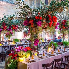 EVENT . One of our custom designed cascading floral structures greeting guests on arrival. Adorning our King's Tables was an explosion of colour with base notes of foliage, orchids, sculptural branches and roses. Florals by @seedflora #jasonjamesdesign