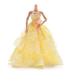 Elegant Lace Multi Layers Wedding Dress For Barbie Doll Luxury Floral Doll 23cm