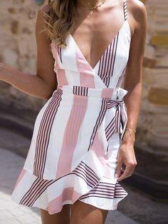 Gaovot 2018 Summer Women Boho Beach Mini Dress Deep V Neck Spaghetti Strap Backless Ruffles Sexy Lace Up Dresses Vestidos S-XL Cute Dresses, Casual Dresses, Short Dresses, Casual Outfits, Mini Dresses, Casual Wear, Backless Dresses, Casual Tie, Wrap Dresses