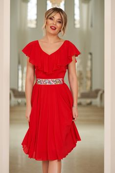 StarShinerS red occasional cloche dress voile fabric with ruffle details accessorized with tied waistband Dress Outfits, Prom Dresses, Wedding Dresses, Baptism Dress, Best Sellers, New Dress, Ruffles, June, Short Sleeve Dresses