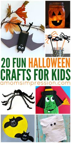 Halloween crafts don't have to be elaborate, check out these simple kid crafts ideal for boys and girls that you can make with your family. Halloween Activities For Kids, Halloween Door Decorations, Halloween Books, Halloween Party Games, Halloween Crafts For Kids, Easy Crafts For Kids, Halloween Projects, Holidays Halloween, Toddler Crafts