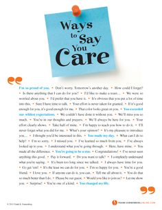 Ways to Say You Care  | Values to Live By |  www.FrankSonnenbergOnline.com