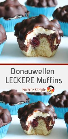 Donauwellen LECKERE Muffins Ingredients for 8 servings 8 pcs paper muffin cases 1 pcs. Plastic wrap For the dough 60 g butter (room temperature) packs vanilla sugar 50 g sugar 2 pcs eggs 100 g flour 1 tsp baking powder 1 tbsp milk 1 tsp cocoa (real) Savoury Cake, Food Cakes, Clean Eating Snacks, Cake Recipes, Sweet Tooth, Bakery, Food Porn, Food And Drink, Sweets
