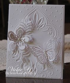 The Sister of Crafters Challenge of White on White theme was chosen by sister Diane! I love creating white on white cards! Fo...