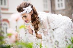 Angelina Headdress - very popular bridal style, goose feathers and Swarovski crystals on a silk satin headband.