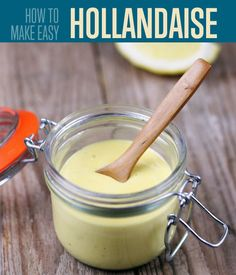Want to make easy Hollandaise sauce? Check out our homemade Hollandaise sauce recipe. With this tutorial, you'll never run out of ways to dress up your eggs Kimchi, Recipe For Hollandaise Sauce, Blender Hollandaise, Sauce Recipes, Cooking Recipes, Dips, Salsa Dulce, Homemade Sauce, Homemade Recipe
