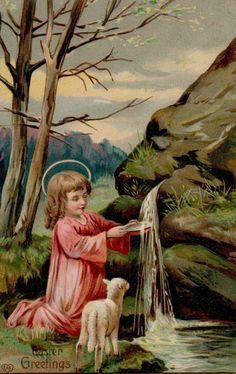 Vintage Easter Angel Child Lamb Greetings Postcard Card Victorian Embossed #Easter