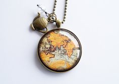 Large Globe Necklace  Antique World Map Pendant by OxfordBright