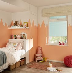 Children's rooms are simply an excuse to have fun with colour and pattern. Here, rocky mountain peaks stand out against a sky blue Roller blind Childrens Blinds, Nursery Blinds, Blue Roller Blinds, Vivid Colors, Colours, Color Combinations, Toddler Bed, Have Fun, Mountain