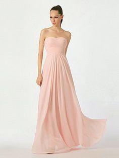 Shell Pink Sweetheart Chiffon Bridesmaid Dress with Lace Up Back - USD $89.99