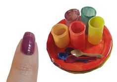 DIY Miniature Glass, Dishes, Spoons Plastic for Dollhouse TUTORIAL Crafts