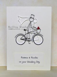 Wedding Bike Ride - custom made greeting card - Quilling Wonderland