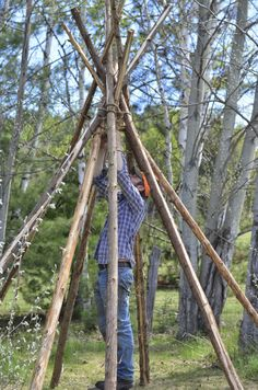 """So…here is a quick """"how to"""" guide to getting up a teepee structure…I've always wanted a teepee in the yard…but they are hundreds of dollars..."""