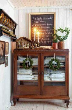 antique cabinet for linen storage, gold framed blackboard, bead board walls Bead Board Walls, Antique Cabinets, Antique Curio Cabinet, China Cabinet, Interior And Exterior, Interior Design, Linen Cabinet, Old Furniture, Furniture Ideas