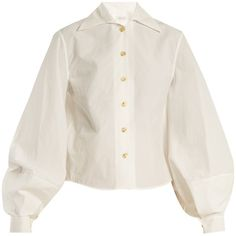 Lemaire Balloon-sleeve cotton-poplin shirt ($450) ❤ liked on Polyvore featuring tops, white, shirt top, polish shirts, white pleated top, balloon sleeve top and white pleated shirt