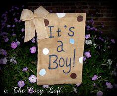 It's a Boy Burlap Garden Flag Bow New Baby Rustic Outdoor Decor Door Wall Hanging on Etsy, $20.00