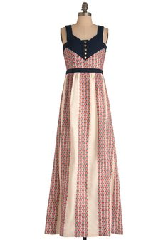 Lauren Moffatt Block Bazaar Dress by Lauren Moffatt - Long, Buttons, Maxi, Tank top (2 thick straps), Multi, Red, Blue, Tan / Cream, Embroidery