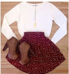 Looking for a cute outfit on Thanksgiving? Go treat yourself to some brown low cut boots, and a soft skirt. Dont forget to add in a white cotton sweater for comfort.