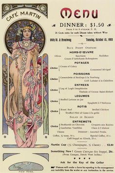 1903 Menu Design for 'Café Martin' New York lithography  Alphonse Mucha