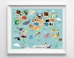 Animal World Map Poster, World Map Art, Type 1, Animal Print, Animal Nursery Decor, Kids Room Decor, Baby Room Poster, Fathers Day Gift