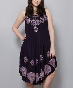 Purple & Lilac Floral Embroidered Midi Dress - Plus #zulily #zulilyfinds