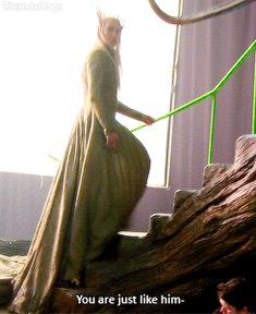 Behold the graceful Elven king. <---- Haha! I read an article where Lee said it was hard to play a fabulous Elf when you are stepping on your robe all the time.