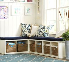 Ryland Modular Banquette Cushion | Pottery Barn Corner Reading Nook with Cubbies for Daycare