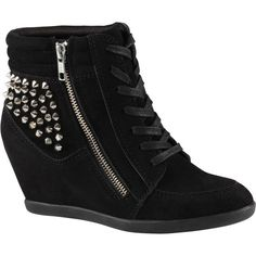ALDO Abernathy sneakers (37 AUD) ❤ liked on Polyvore featuring shoes, sneakers, sapatos, heels, boots, black satin, black wedge sneakers, heeled sneakers, black sneakers and black hi top sneakers