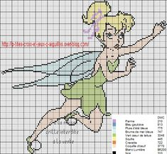 A la demande de Muriel, je refais la série des grilles la fée Clochette et ses amies, voici la première :