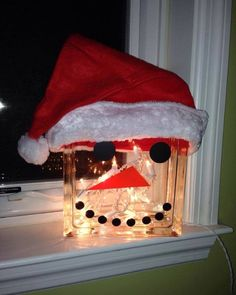 Large Snowman Deco Block with lights and hat by MorrisMonogramming on Etsy