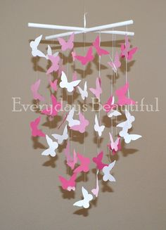 Pink Butterfly Mobile, Girls Room Decor,Party Decor. $21.00, via Etsy.