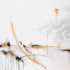 "Annie Noa contemporary painting ""Cloud"". Modern minimalistic art. Gold and black. Acrylics on canvas. 90x90cm. instagram.com/theannienoa"