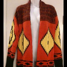 Tribal Design Sweater Beautiful, vivid lightweight sweater Size small New, with tags Happy to bundle! Hot & Delicious Jackets & Coats