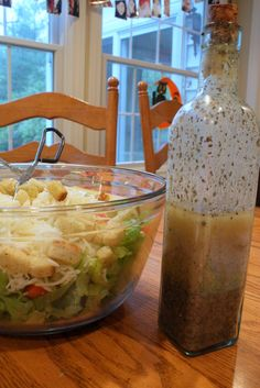 Greek Dressing -- 1 cup olive oil, 1 cup red wine vinegar, 2 1/2 tsp. garlic powder, 2 1/2 tsp. dried oregano, 2 1/2 tsp. dried basil, 2 tsp. pepper, 2 tsp. salt, 2 tsp. onion powder, 2 tsp. Dijon-style mustard, Mix together and shake well. Store at room temperature tightly covered.