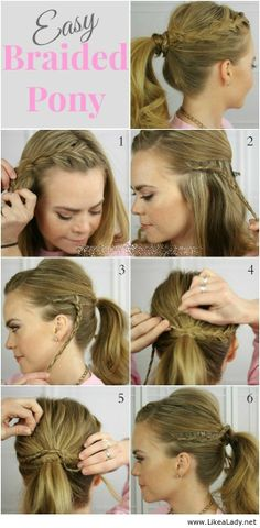 Braid wrapped around ponytail tutorial, although I would just do the bigger braid into the ponytail.