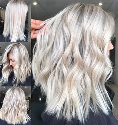 Beauty blonde hair, platinum blonde hair color и balayage hair. Platinum Blonde Hair Color, Blonde Hair Looks, Ash Blonde Hair, Blonde Color, Platnium Blonde Hair, White Blonde Highlights, Platinum Blonde Hairstyles, Medium Length Hair Blonde, Platinum Blonde Highlights