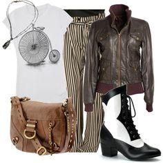 """everyday steampunk 1"" by urbansouthuna on Polyvore - I really like steampunk (or steam-pulp as I'm discovering is more likely what I like) but would not want to go hardcore steampunk all the time, so I was inspired to design some outfits that incorporated steampunk but were still toned-down enough to be comfortable for every day."