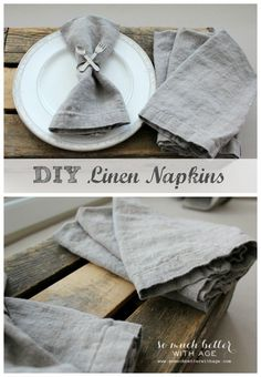Sew A Gift - Making your own linen napkins has never been easier. These napkins also double as placemats! With sewing only a few straight lines, you can have the prettiest napkins as well as placemats! Sewing Tutorials, Sewing Hacks, Sewing Crafts, Sewing Projects, Diy Projects, Fall Projects, Linen Napkins, Cloth Napkins, Linen Placemats