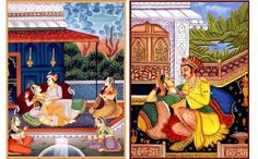 This Mughal 'love' painting is a wonderful illustration of that eras royal lifestyle . The romance and intimacy between a royal couple in an amorous pose on the terrace surrounded by female attendants is depicted very tastefully in this picture. The grandeur is highlighted by the ornate furnishings, the lush greenery and the intricate designs and motifs  providing a visual feast.