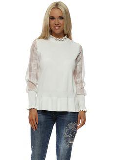 705d7ea4ee7 Laetitia Mem · White Lace Sleeve Peplum Jumper White Jumper